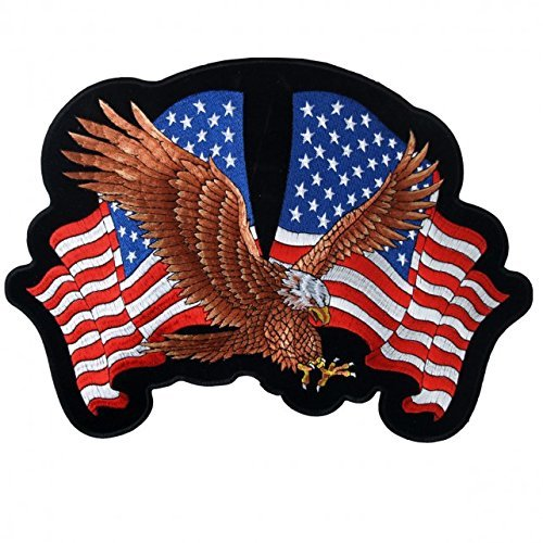 Hot Leathers, EAGLE 2 FLAGS, American Eagle with USA Flags - High Thread Iron-On / Saw-On Rayon PATCH - 4