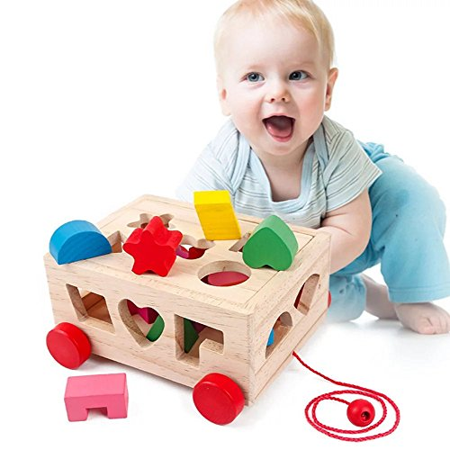 1 pc 15 Holes Intelligence Box Shape Matching Blocks,Baby Push Pull Toy Classic Wooden Educational Toy With 15 (Elmo Toys Walmart)