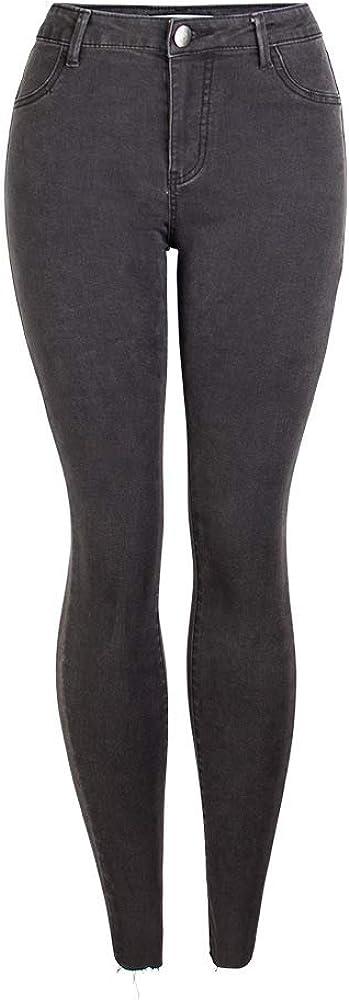 JYKING - Pantalones Vaqueros para Mujer, Estilo Informal, Cintura Media, a Rayas, Ajuste Delgado, Color Gris Oscuro