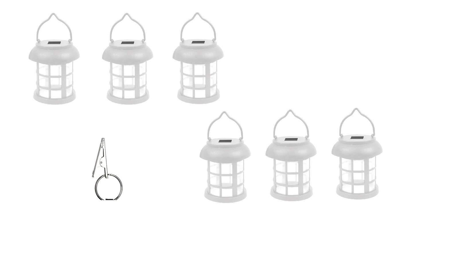 Hanging Solar Patio Umbrella Lanterns with Umbrella Clips - Set of 6 - White