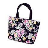 Fashion Printing Canvas Shopping Handbag,Outsta Women Girls Shoulder Tote Shopper Bag Satchel Portable Toiletry Bags Travel Casual Daypack (Black)