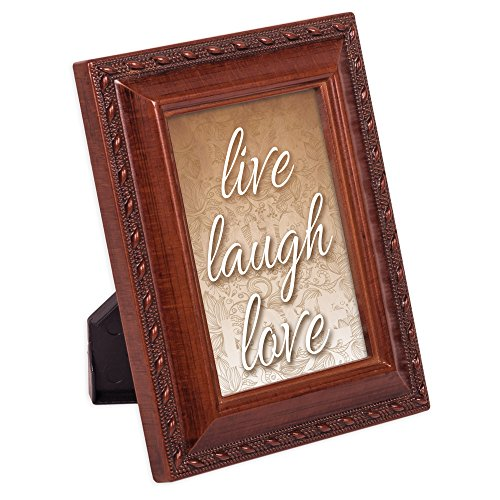 Cottage Garden Live Laugh Love 2 x 3 Woodgrain Finish Embossed Rope Magnetic Tiny Photo Frame -