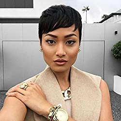 HOTKIS Women Human Hair Short Hairstyle Wigs Pixie Short Cut Natural Hair Wigs (Short Cut-Natural Color)
