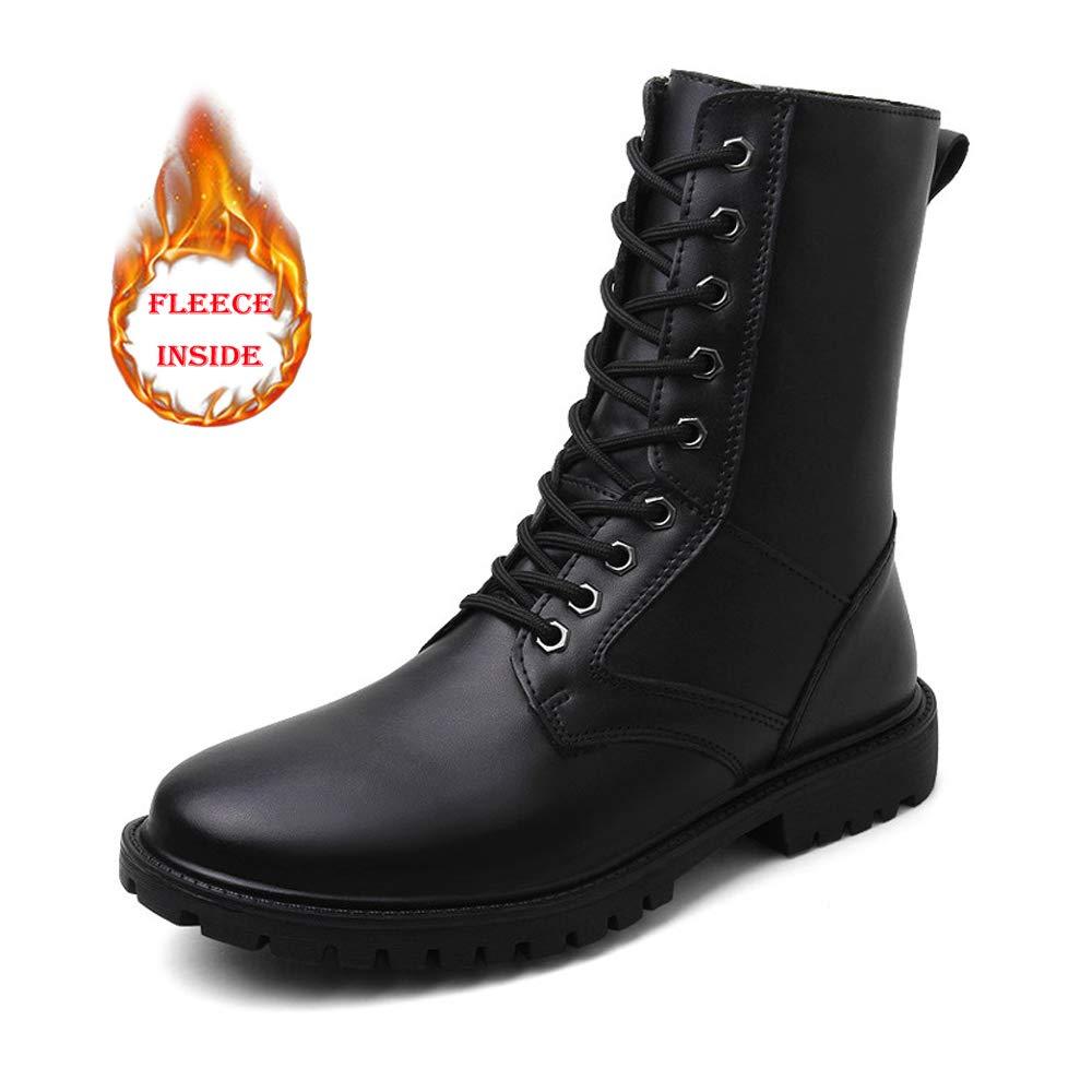 Shufang-schuhe Herrenmode Mid-Kälber Stiefel, echtes Leder High Top Militärschuhe (warme Fleece gefüttert optional) (Farbe   Warm schwarz, Größe   39 EU)