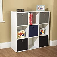 Utility Bookcase Tower with 5 Fabric Bins, Multiple Colors. Perfect for the Hall, Office, Living Room, Kids Bedroom, or Playroom. Efficiently Organize Your Living Space with This Beautiful Bookshelf. The Bins Which Come in Black, Grey, and Either Blue or Pink, Are Included with This White Tower Organizer. (Blue/Black/Grey)