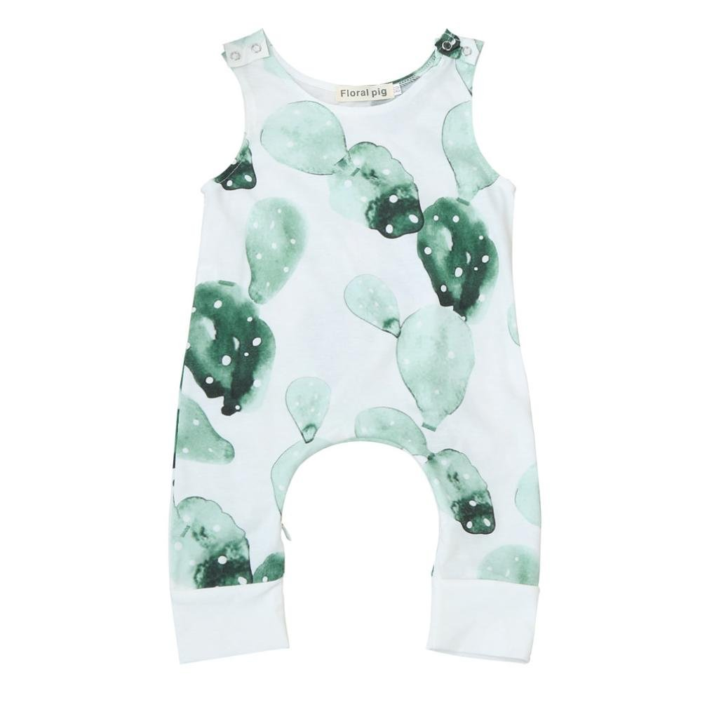 Fartido Baby Boys Girls Cactus Romper - Print Zipper Jumpsuit Clothes