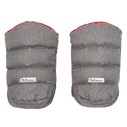 7 A.M. Enfant Warmmuffs Stroller Gloves-Heather Grey with Red Fleece Lining by 7A.M. Enfant