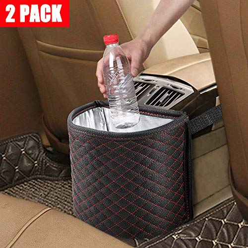 KNGUVTH Car Garbage Cans Hanging Vehicle Trash Bags Bins Drive, Portable Auto Garbage Bags Litter Organizers Trash Pail with Adjust Headrest Holder Waterproof Mini Container Car Accessories (2 ()