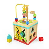 Activity Cube Baby Educational Toys Wooden Bead Maze Shape Sorter for 1 Year Old Boys Girls Kids Toddlers Gift Activity Center