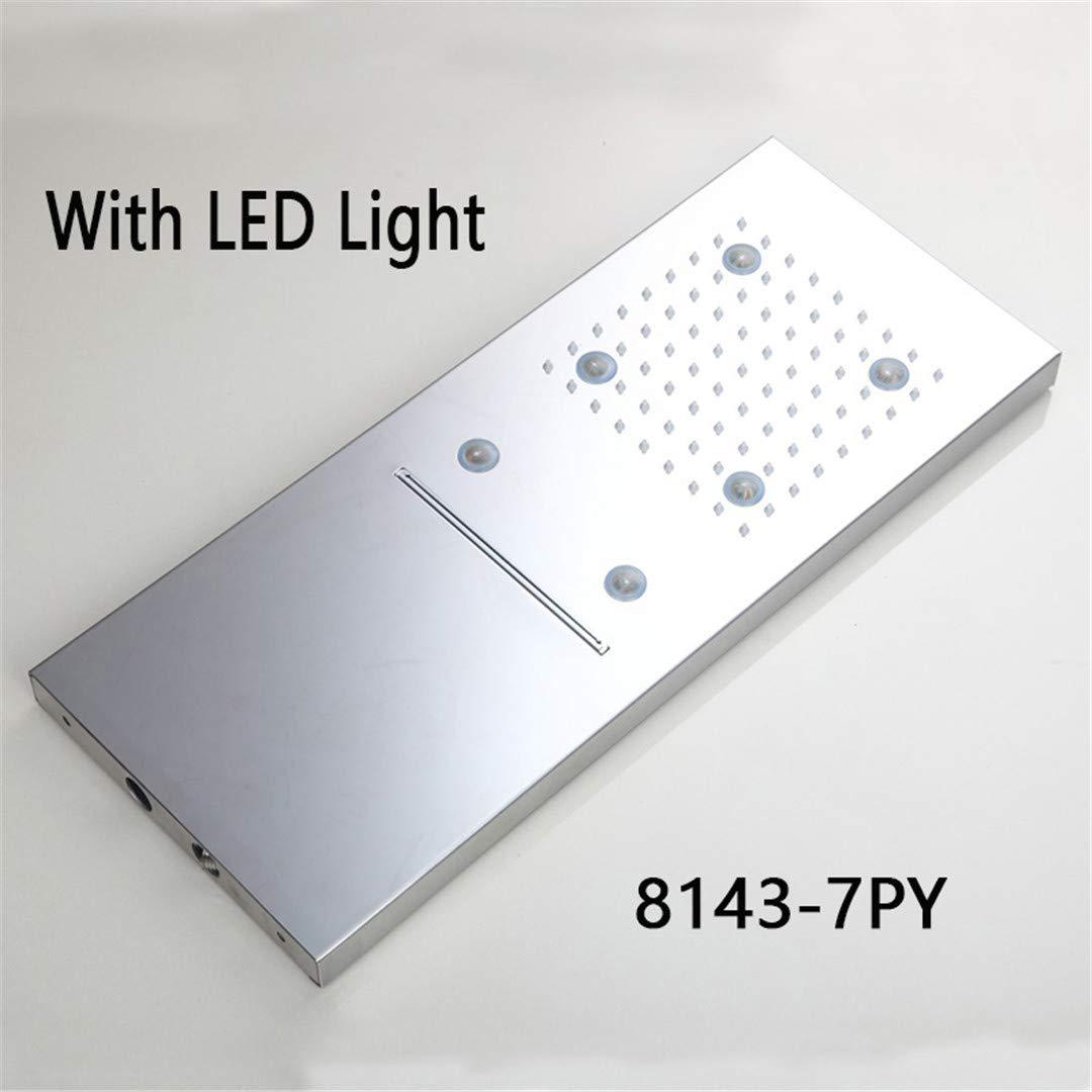 8143-7py LED Light New Chrome Rainfall Square 304 Stainless Steel Shower Head Bathroom Shower Wall Mounted Basin Overhead 8143-4PY