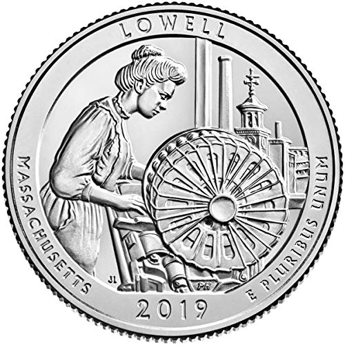 (2019 P, D, S 3 Bankrolls of 40 - Lowell National Historical Park, MA Quarter Uncirculated)
