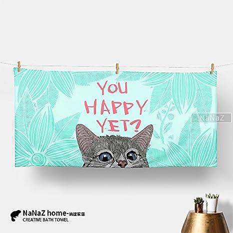 Mangeoo Cartoon multicolor personalizada gatito adulto, Toalla de baño, toalla de playa, absorción
