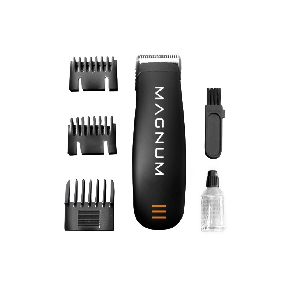Magnum by LIFE - Men's Groomer - Pro Grade Cordless Trimmer - 5 O'Clock and Sideburns Guides - AA Battery Freedom
