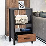 Cheap Aingoo Black Brown Tall End Table Bookcase Storage Small with Drawer in Black