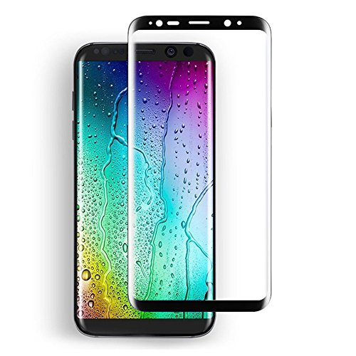 Price comparison product image Galaxy S8 Screen Protector,ICEBLY Samsung S8 Silk Print 3D Curved Edge to Edge Full Coverage HD Ultra Clear Tempered Glass Anti-shatter Film (Black)