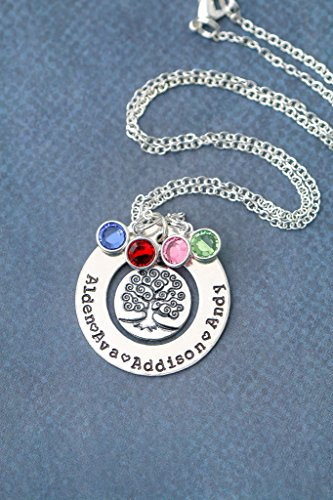 Silver Family Tree Necklace - DII ABC - Grandma Gift - Personalized Children's Name Mother's Day Birthstone Jewelry - 1.25 Inch Washer Swarovski Crystals