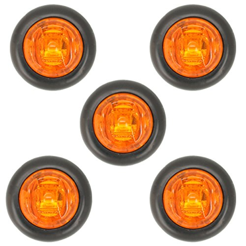 Dual Diode - 801 Chrome 5 pack 3/4 inch Amber LED Dual Function High Low 3 SMD Diodes Clearance Side Marker Turn Signal, Grommet Mount, Trailer Truck RV, Grommets Included, Waterproof, Button Lights, Amber