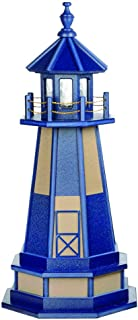 product image for DutchCrafters Decorative Lighthouse with Base - Wood, Cape Henry Style (Weatherwood/Blue, 3)