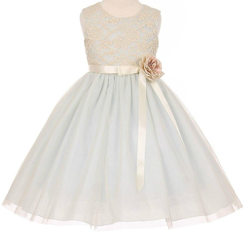 a4b1e4f02df3 Top1: Aki_Dress Flower Girl Elegant Stretch Lace Tulle Tea Length Dress