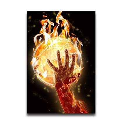 amazon com fire basketball and hand cool poster collage vintage