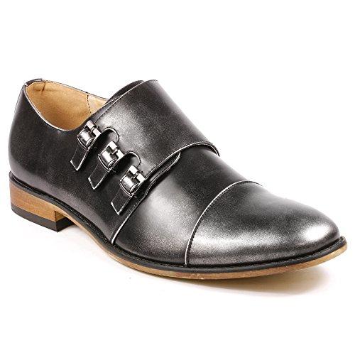 UV SIGNATURE UVS09 Men's Silver Gray Triple Monk Strap Cap Toe Slip On Loafers Dress Shoes (8.5)