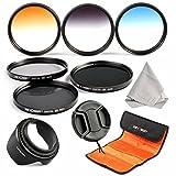 52MM Filter Kit, K&F Concept 6pcs Neutral Density Filters Set (ND2 ND4 ND8) Graduated Color Filter Set (Blue Orange Gray) + Hood + Cap + Filter Bag