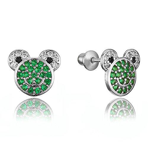 925 Sterling Silver Rhodium Plated Frog Cubic Zirconia Screwback Baby Girls Earrings