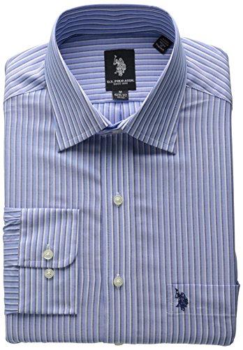 (U.S. Polo Assn. Men's Blue Navy White Stripe, Light Blue, 16-16.5/34-35)