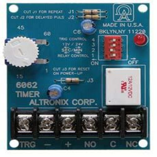 Altronix 6062 Multi-Function Timer - 12VDC or 24VDC operation, SPDT contacts rated @ 8 amp/115VAC, 1 sec. to 60 min. adjustable timing range. One seco