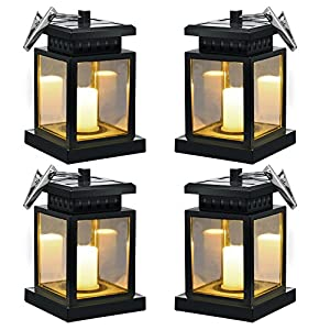 Hanging Solar Lights - Sunklly Waterproof LED Outdoor Candle Lantern Decorated in Garden Patio Deck ( Yellow Light, Pack of 4 )