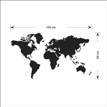 Zooarts Pegatina Decorar la Pared, de Vinilo, Grande, despegable, de Color Negro y con un diseño del Mapa del Mundo: Amazon.es: Hogar