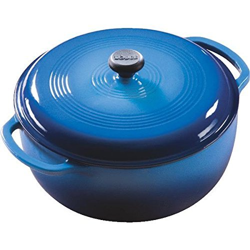 Lodge Ec6d33 Enameled Cast-iron Dutch Oven With Cover, Blue, 6 Qt
