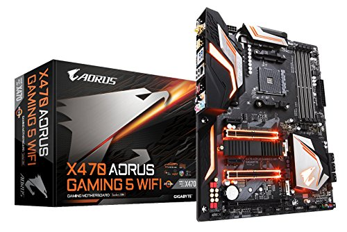 GIGABYTE X470 AORUS GAMING 5 WIFI (AMD Ryzen AM4/ X470/ USB 3.1 Gen 2 Type A, Type C/ ATX/ DDR4/ Intel Wave 2 WIFI/ M.2/ HDMI/ Motherboard) (Amd Motherboard Chip Set)