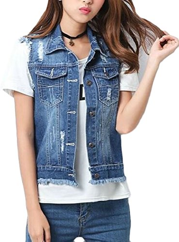 インデックス財政飢えFly Year-JP 女性プラス袖に色あせたデニムジーンズベストリッピングサイズ