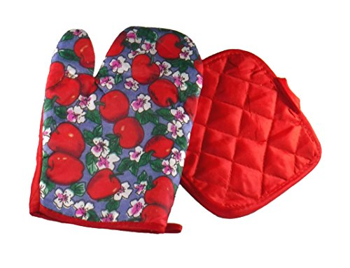 G V Red Apples and Blooms on blue Print and Red Quilted Oven Mitt Glove and Pot Holder pad ()