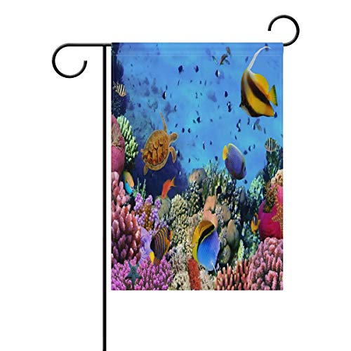 WIHVE Garden Flag Colorful Coral Reef Sea Turtle Holiday Seasonal Decoration Double Sided House Flag Yard Decor 12 X 18 Inch
