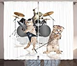 Cheap Animal Decor Curtains Cool Fancy Hard Cute Rocker Band of Kittens with Singer Guitarist Cats Print Living Room Bedroom Window Drapes 2 Panel Set Multicolor