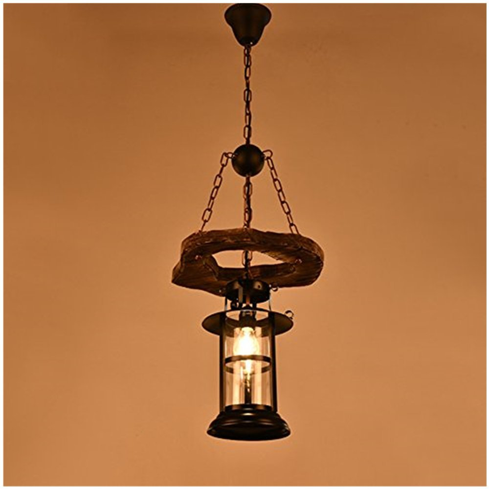 Joypeach Vintage Wooden Chandeliers,Retro Industrial Style Chandeliers for Dining Rooms,Chandeliers for Living Room (110V) (B)