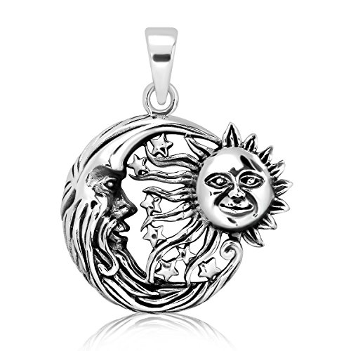 WithLoveSilver Solid 925 Sterling Silver Charm Moon Crescent Sun Stars Universe Celestial Pendant