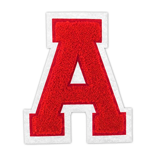A - Red on White - 4 1/2 Inch Heat Seal/Sew On Chenille Varsity Letter