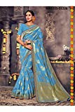 Indian Sarees For Women Designer Wedding Partywear Orange Color In SkyBlue Cotton Silk