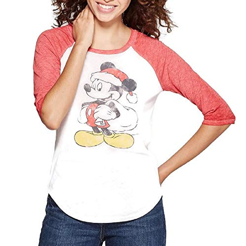(Mickey Mouse Santa Holiday T-Shirt ~ White/Red (Juniors) (Medium))