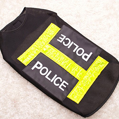 XIDAJE store Pet Dog Puppy Vest Clothes Apparel Custome Night Coat Police Gauze