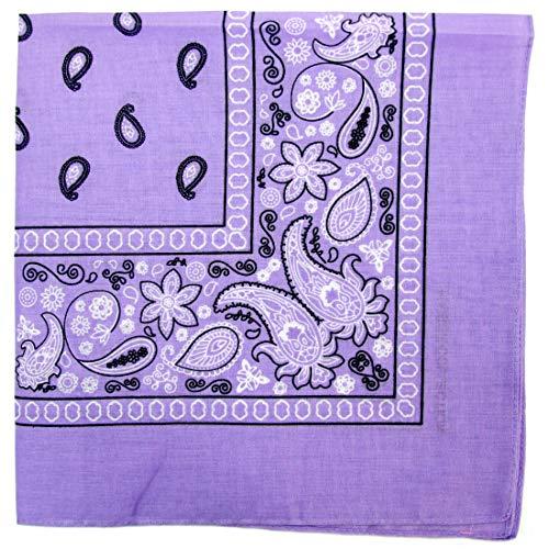 Paisley One Dozen Cowboy Bandanas (Lavender, 22 X 22 -