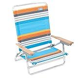 Rio Brands Bright Stripe 5 Position Classic Lay Flat Beach Chair