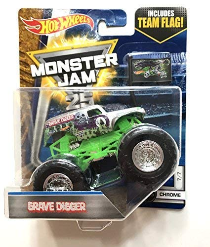 Hot Wheels Monster Jam 2017 Chrome Grave Digger 1:64 Scale, Silver and Green