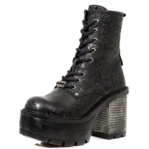 Nouvelles Bottes Rock M.seve02-c8 Gothiques Damen Punk Hardrock Stiefelette Schwarz