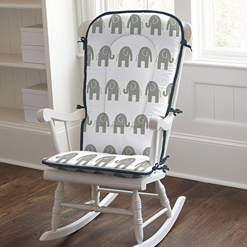 Carousel Navy and Gray Elephants Rocking Chair Pad
