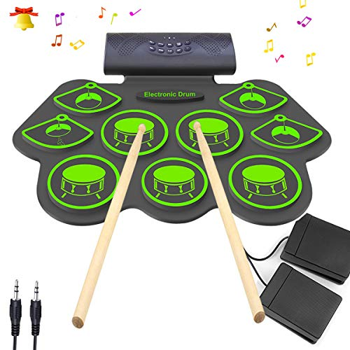 Electronic Drum Set – KONIX Bluetooth Electric Midi Drum Set Kit for Kids Beginner Portable Roll Up Drum Practice Pads – Musical Instruments With Built-In Speaker,Drum Pedals Drum Sticks