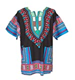 Vipada Handmade Men Dashiki Shirt African Caftan Black with Light Blue Small